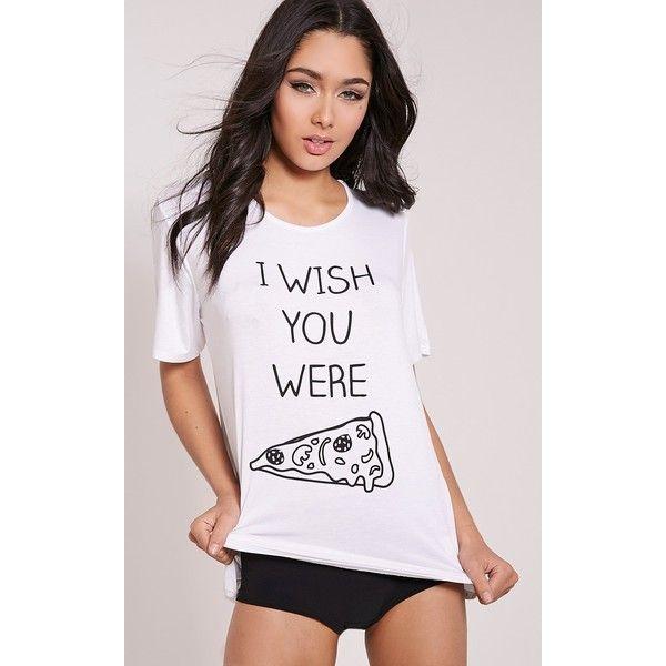 I Wish You Were Pizza White Knicker Pyjama Set-L (€12) ❤ liked on Polyvore featuring intimates, sleepwear, pajamas, white, white pjs, jersey knit pajamas, white knickers, white sleepwear and white pajama set