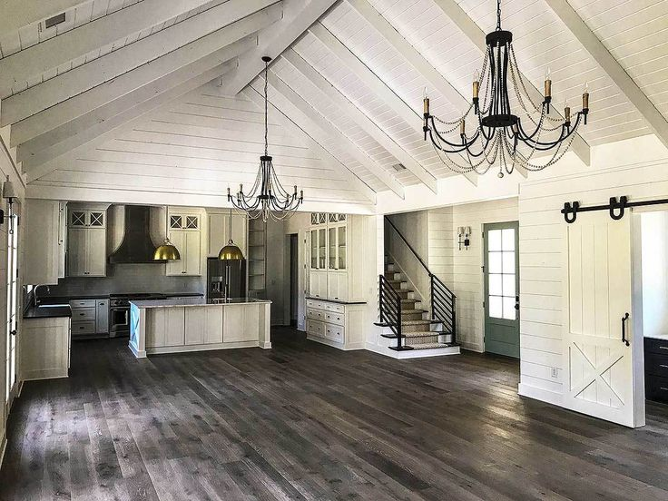 I want a small kitchen with a pass-through window/wall separator there. But I love this aesthetic. Maybe a light beige to the walls to warm it up, though, with the white ceilings and shiplap.