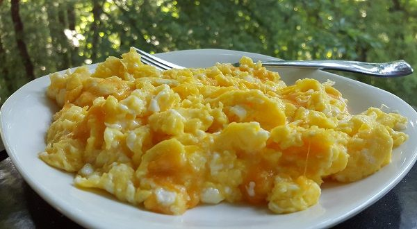 Keto Breakfast: LCHF Eggs scrambled in real butter with colby jack cheese