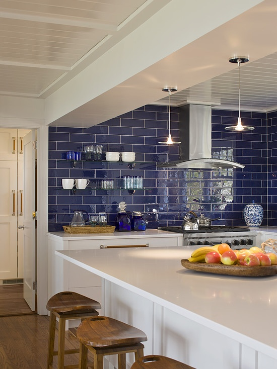 Love the navy and white kitchen look.