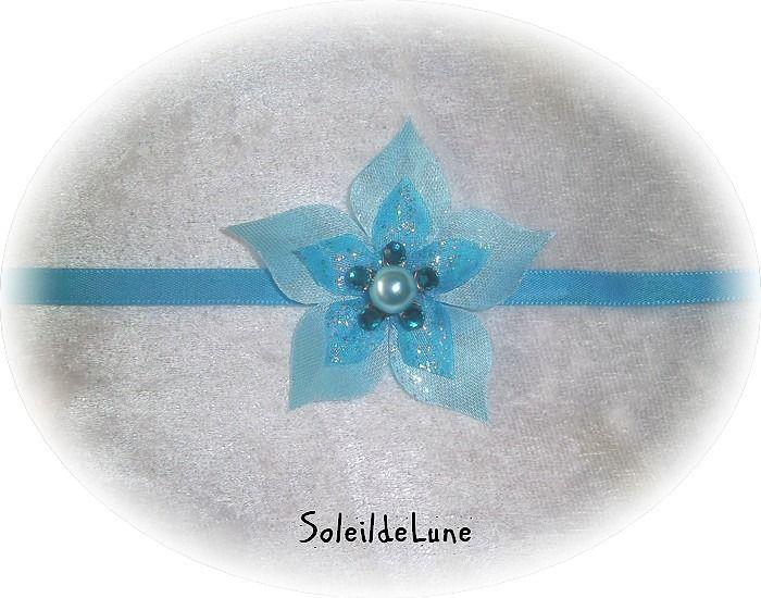 Collier Fleur bleue turquoise clair Strass cristal ❀ Collier ras de cou fleur ruban de satin Mariage communion : Collier par soleildelune-bijoux-mariage