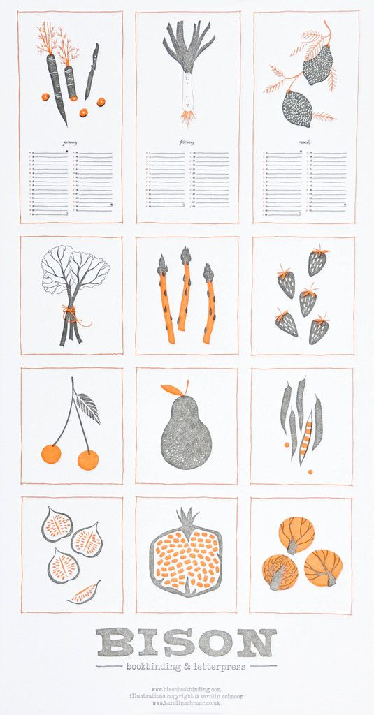 Illustration Calendar Design : Seasonal produce calendar ilustración pinterest