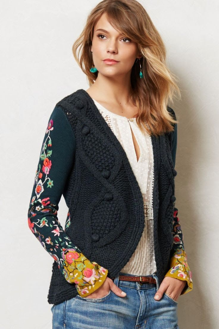Anthropologie Embroidered Sweater - Stitched Flora Cardigan