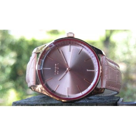 LOISIR 11L65-00076 Facet dameshorloge - roze leer - 40 mm - roségoudverguld RVS