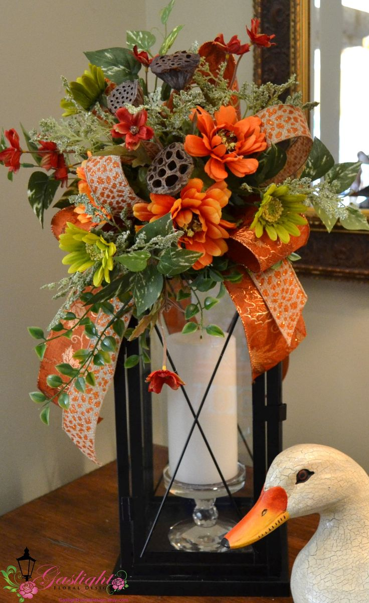 Autumn and Fall Lantern Swag by Gaslight Floral Design. http://GaslightFloralDesign.com