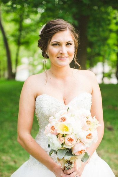 Pastel wedding bouquet idea - pink + white peony bouquet {Aga Jones Photography}
