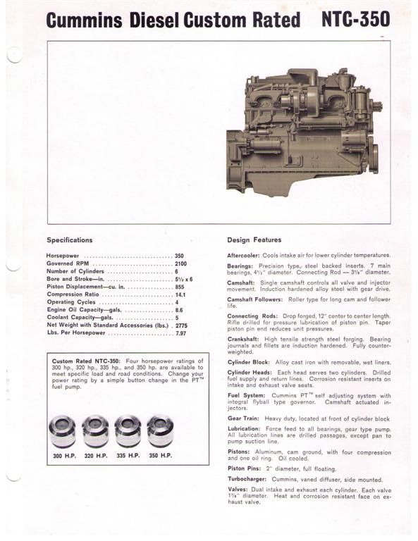 Cummins NTC-350 brochure Page 1 | Projects for Bryan