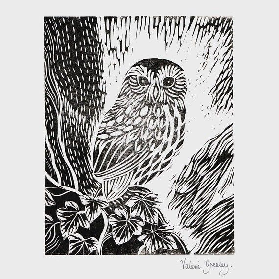 Owl in the Ivy original lino printhttp://www.etsy.com/listing/57539057/owl-in-the-ivy-original-lino-print