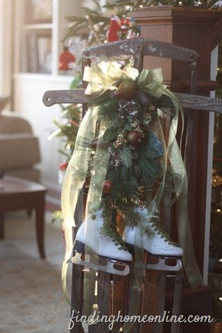 Vintage Sled and ice skates. Reminds me of my childhood. I have the skates now I have to find the old sled and I have my Christmas decoration made!