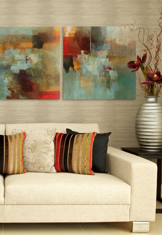 This is totally what Im putting in my neutral living room I Scale ArtRed And TealAbstract Wall