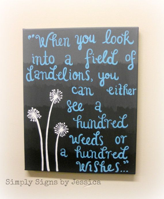 Hand Painted Dandelion Quote on Canvas by SimplySignsByJess, $45.00. This is so cute, good idea to make my own!