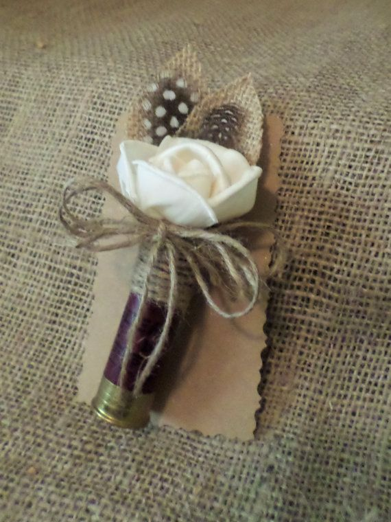 Shotgun Shell boutonniere for rustic country weddings.  This listing is for 1 Dark red/Cranberry shotgun shell boutonniere made from a spent