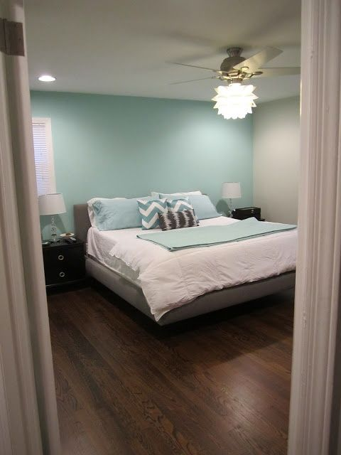 amusing grey teal bedroom | Aqua accent wall with grey...and that fan light!! Teal ...