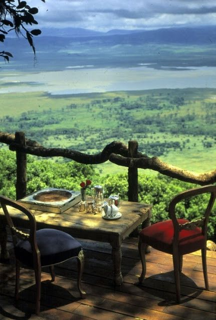 Lunch at the Ngorongoro Crater Lodge, Serengeti, Tanzania .Simple setting with stunning views, typical mend and make do allotment mentality.Simple Pleasures.