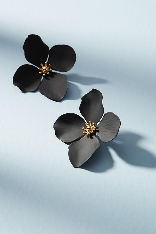 NEW Anthropologie Garden Party Large Flower Earrings by Zenzii Black NWT #Anthropologie