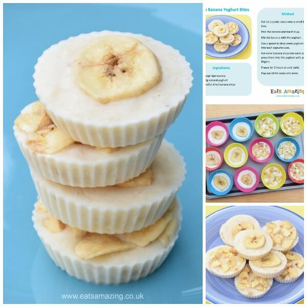 Frozen Banana Yogurt Bites - really easy recipe for kids for a yummy healthy snack with just 3 ingredients - Eats Amazing UK