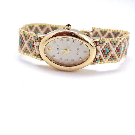 Relojes para mujeres-correas geométrica patrón Delica cordón hecho a mano Beadwoven montre reloj broche de plata, envío gratis, Femme, montre Femme