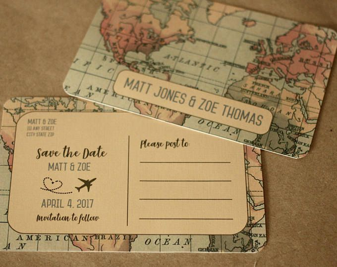 Travel Themed Postcard Save the Date | Vintage Style, Save