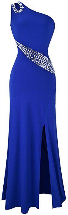 Angel-fashions Women's Hollow Out Rhinestones One Shoulder Slit Prom Dresses Medium Blue