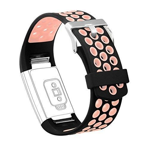 Fitbit Charge 2 Band AK Adjustable Soft Silicone Fitbit Charge 2 Bands Replacement Strap for Fitbit Charge 2 HR Fitness Wristband (Blush Pink)