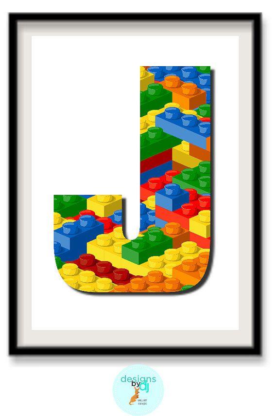INSTANT DOWNLOAD Lego Letter J Monogram by DesignsByDjKidsArt