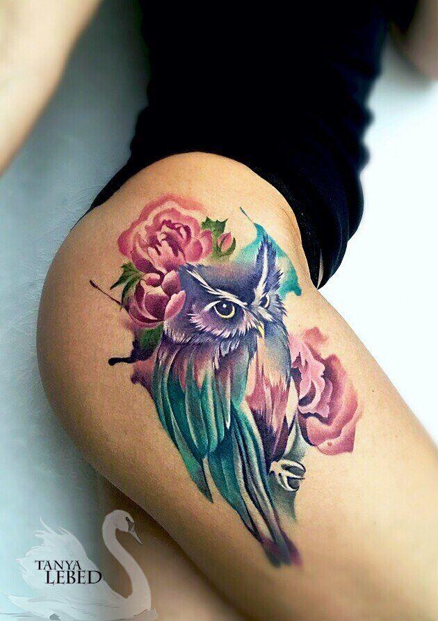 Owl tattoo on thigh new school by Tatyana Lebed | Rose tattoos on wrist, Pretty flower tattoos, Flower tattoo shoulder