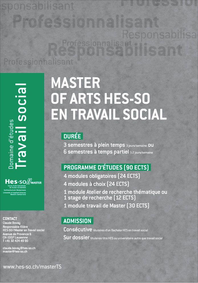 Déclinaison charte HES-SO, Poster pour le Master en travail social | Format F4