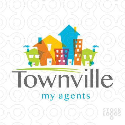logo sold stylized overlapping houses and apartments come together to create this fun and bright design