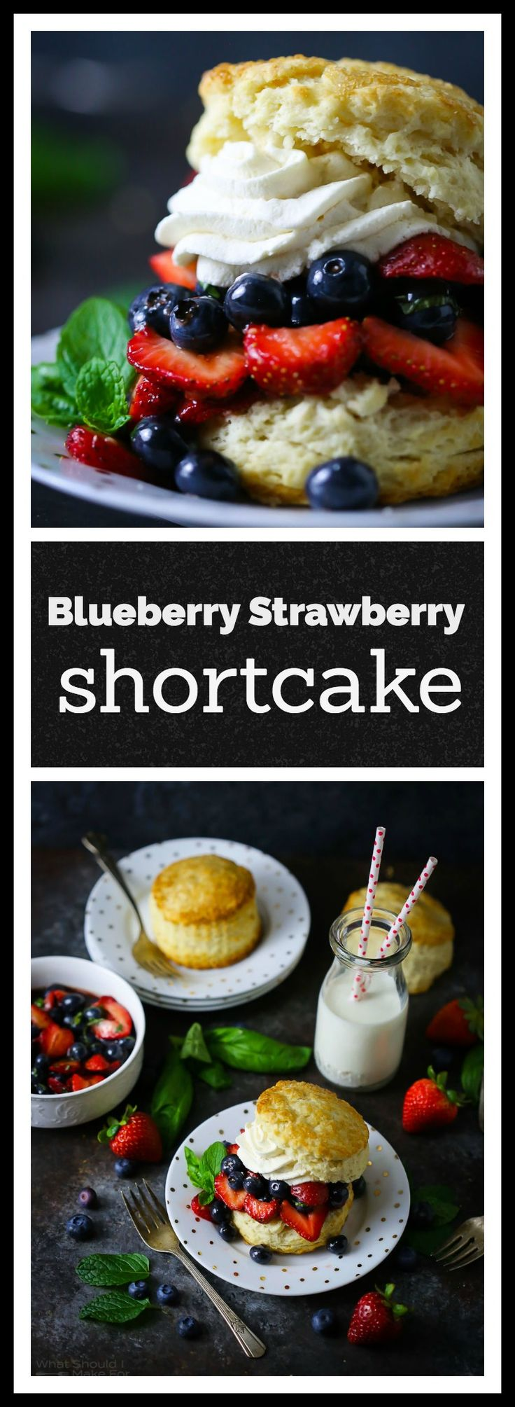All hail the queen of summer desserts! Classic strawberry shortcake is 4th of July ready with the addition of plump blueberries and a little zing from balsamic vinegar and herbs.