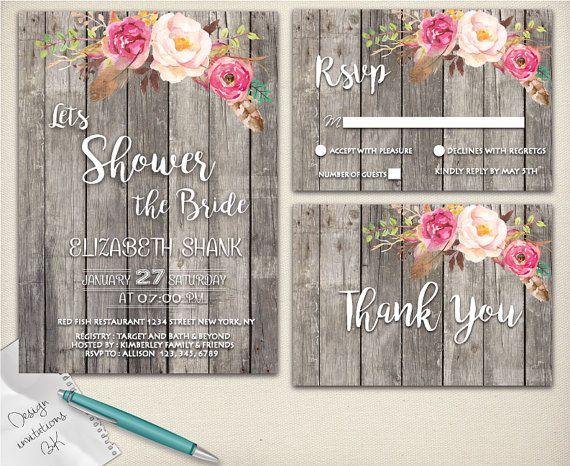 rustic bridal shower invitation rustic wedding shower invite watercolor floralu2026