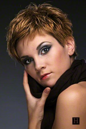 womens short messy layered pixie shag hairstyle red hair.