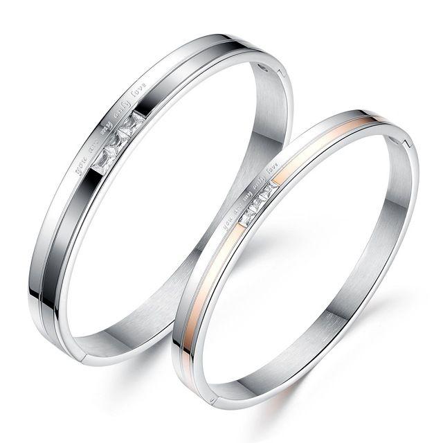 Оптовая 2016 мода ювелирные изделия романтический любителей титана стали CZ браслет мужчины женщины браслеты День святого валентина Специальный подарок LGH748