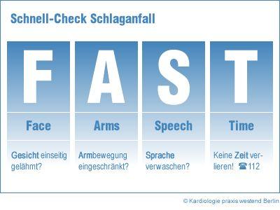 Erkennen Sie Schlaganfall-Symptome ganz einfach mit dem FAST - Test. Unsere Schlaganfall-Vorsorge in der Kardiologie Praxis westend Berlin kann vorbeugen!