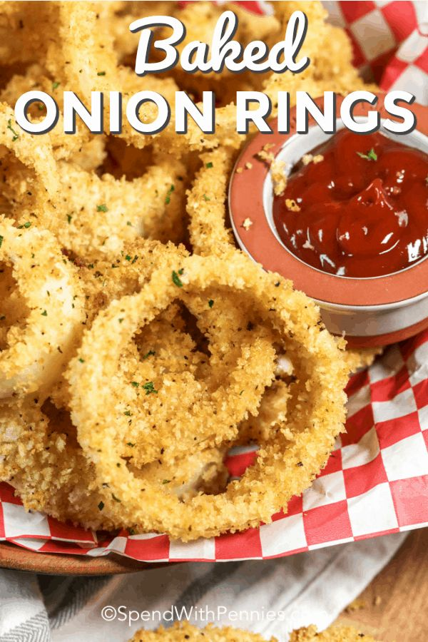 This easy oven baked onion ring recipe is made without ...