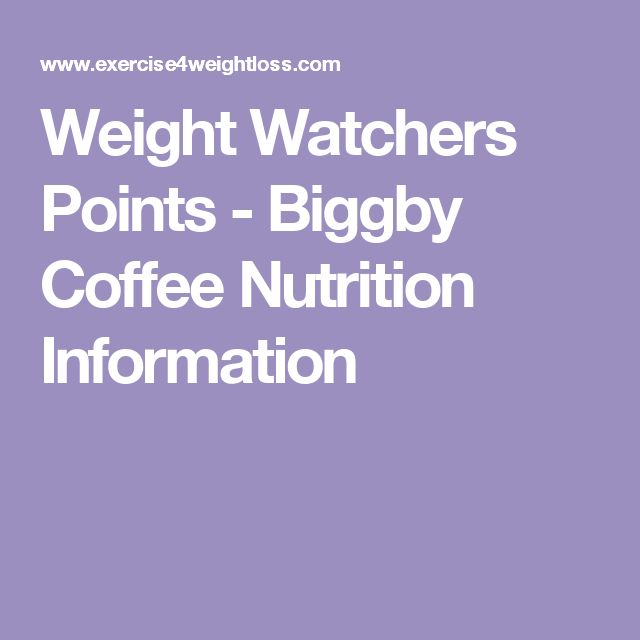 Weight Watchers Points - Biggby Coffee Nutrition Information