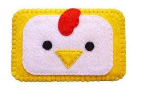 Cute felt chicken cell phone case. $6.99, via Etsy.