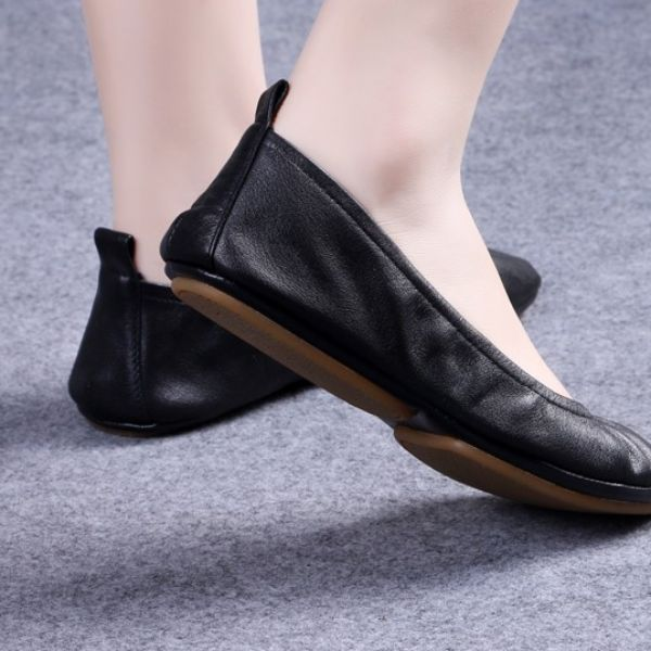 These shoes are similar to Tieks with a lower price tag. They are genuine leather foldable flat ballet shoes that are easy to store in your purse..