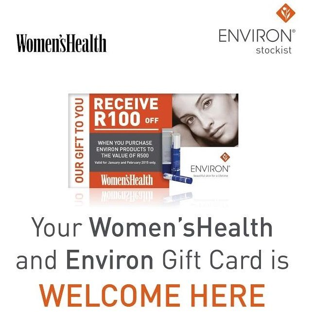 Ladies! Have you bought the latest Women's Health South Africa???  There is a nice little surprise inside for you!!!   Your Environ Skincare giftcard can be used at Madeleen Health & Beauty Studio!!!  #EnvironSkincare #Beauty #Giftcard #EffortlessBeauty
