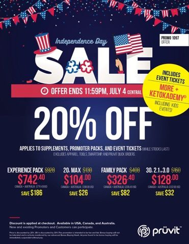 It's July 4th and Pruvit is having a sale to celebrate! Get your Keto OS at 20% off!