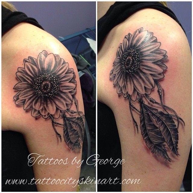 Sunflower dream catcher. Black and Grey tattoo by George Zabala. Tattoo City, Lockport, IL. www.tattoocityskinart.com