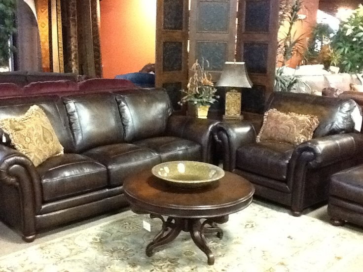 Lazy boy william sofa chair and ottoman in gorgeous dark Leather lazy boy sofa