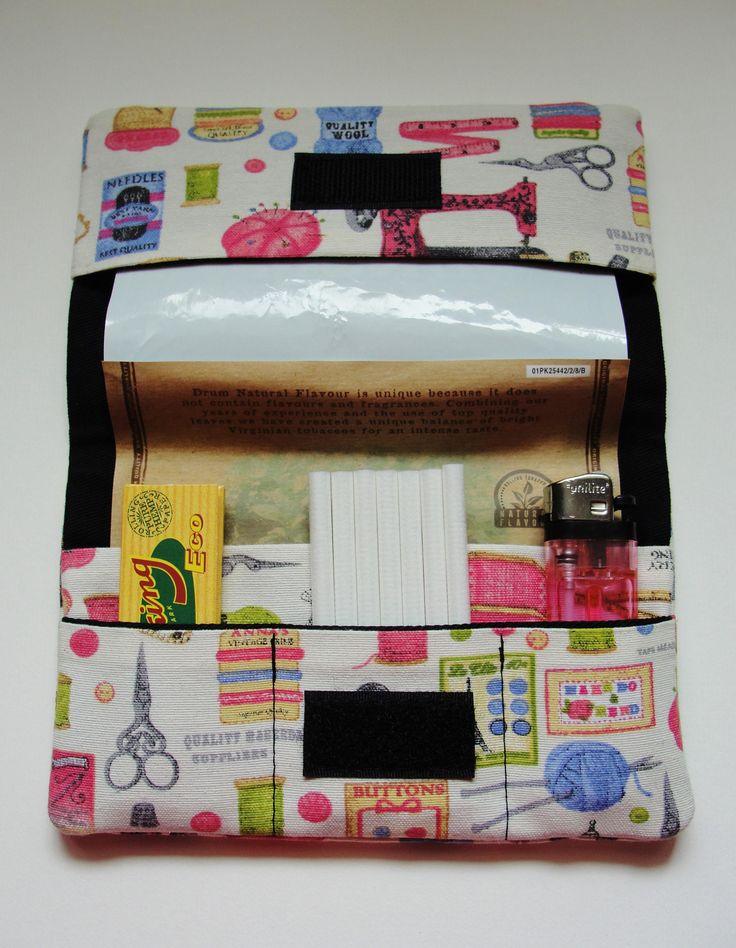 Sewing accessories print Tobacco Pouch by ineskos on Etsy