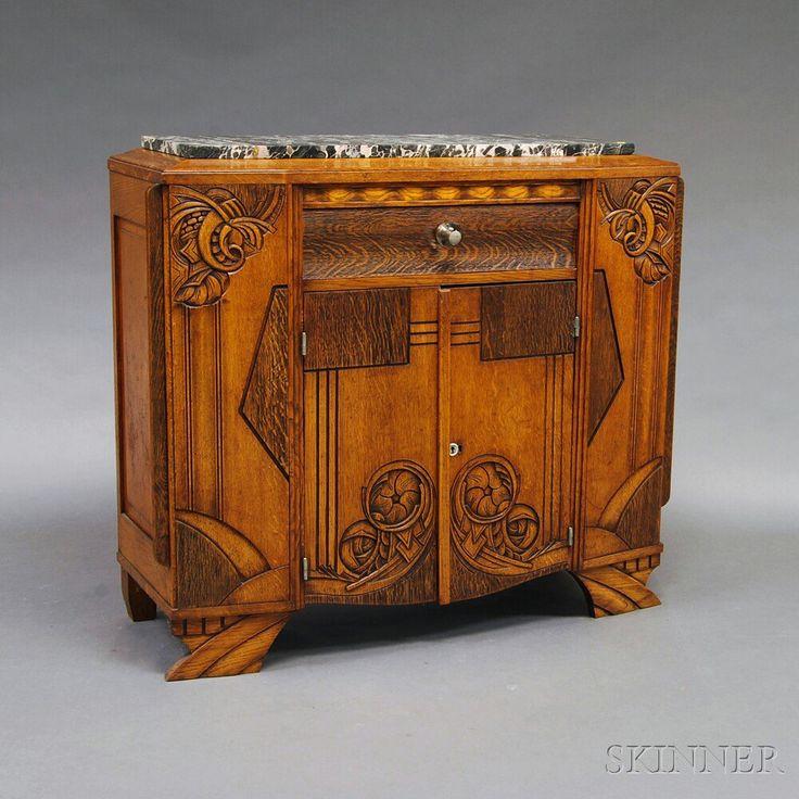 art deco carved and inlaid oak marble top sideboard furniture pinterest. Black Bedroom Furniture Sets. Home Design Ideas