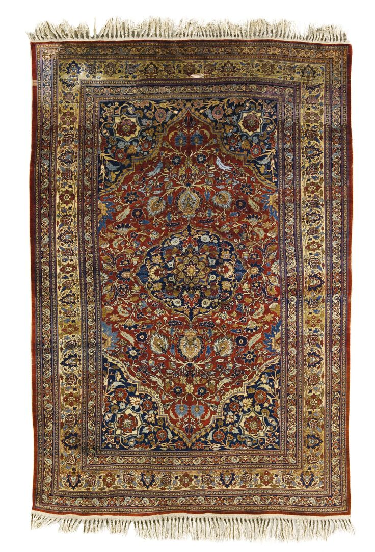 Heriz silk rug, Northwest Persia approximately 208 by 144cm; 6ft. 10in., 4ft. 8in. circa 1890