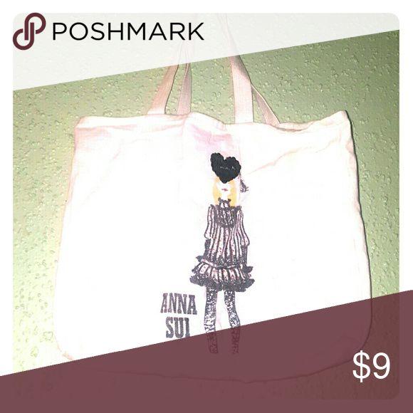 Anna Sui Mini Tote Bag Adorable mini tote bag with Parisian Anna Sui fashion illustration. 100% cotton Anna Sui Bags Totes