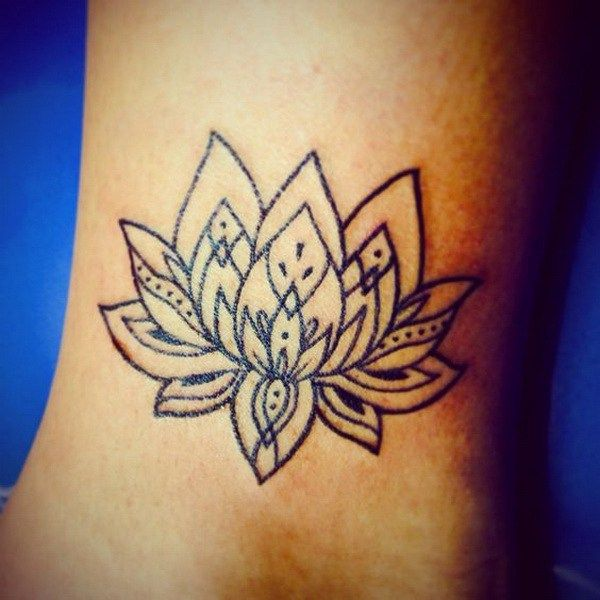 Lotus Flower Ankle Tattoo for Girls.
