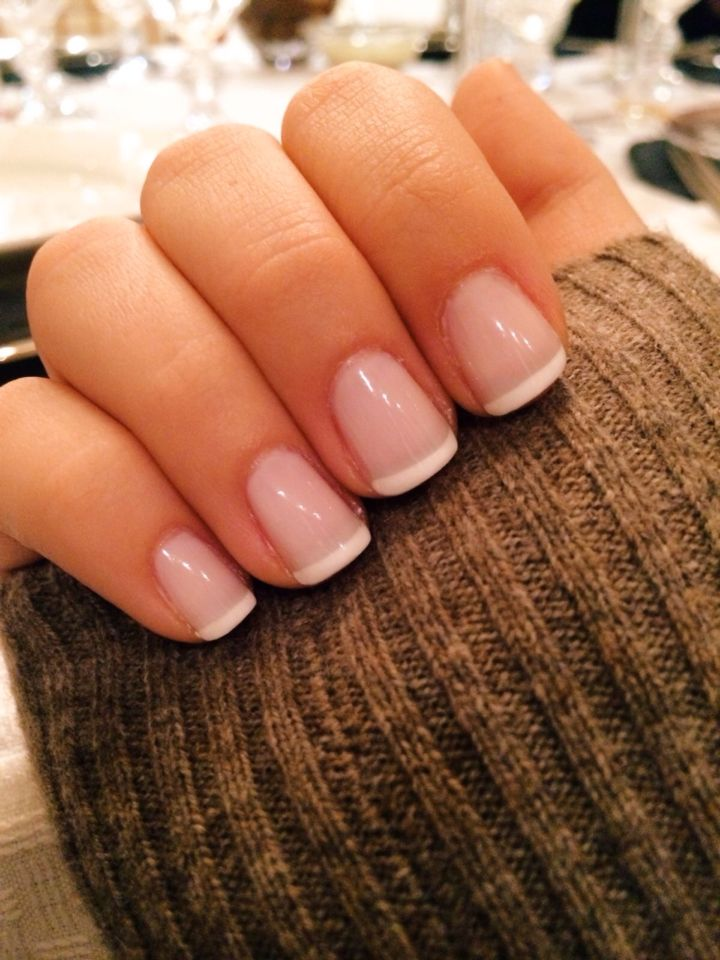 Straight across French tip - no half moon shape
