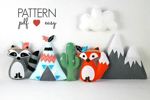 Tribal Felt Sewing Pattern - Use for Baby Mobiles - Raccoon - Fox - Teepee - Snowy Mountain - Cactus at Makerist