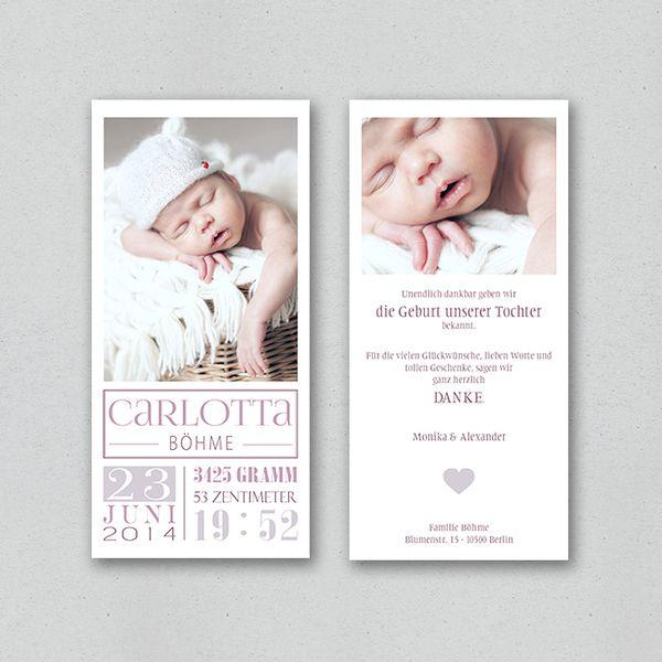 Geburtskarte - noble (girl) von STILARTEN - Kunst & Design auf DaWanda.com