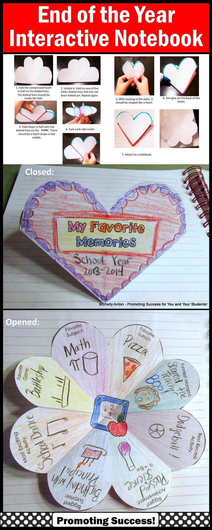 End of the year activities for multiple grade levels! Your students are going to love sharing memories with this interactive notebook activity! You will love its flexibility. The are several variations of the ONE template, including open-ended options to meet the individual needs of all your students. This activity works well year after year for multiple grade levels! https://www.teacherspayteachers.com/Product/End-of-the-Year-1246529